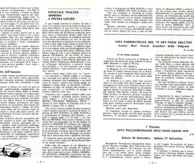 Il bollettino parrocchiale in cui si annuncia la nascita del gruppo (anno 1975)